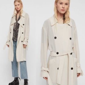 All Saints Bria Trench Coat in Oyster Size Small